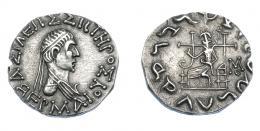 449  -  GRECIA ANTIGUA. BACTRIA. Hermaios Soter. Tetradracma (105-90 a.C.). A/ Busto diademado y drapeado a der. R/  Zeus entronizado a izq. con cetro, monograma a la der. AR 8,72 g. 24,3 mm. Mitchiner-tipo 414.  SBG-7733. EBC. Muy escasa en esta conservación. Ex col. Guadán 2702.