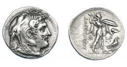 450  -  GRECIA ANTIGUA. EGIPTO. Reino Ptolemaico. Ptolomeo I. Tetradracma (323-305 a.C.). A nombre de Alejandro III.  A/ Cabeza de Alejandro III a der. con piel de elefante, cuernos de Amón y égida. R/ Atenea avanzando a der. con lanza y escudo; delante monograma, casco y águila, detrás AΛEΞANΔΡOΥ. AR 15,55 g. 31 mm. COP-28. SBG-7750 vte. Contramarcas en anv. MBC+/EBC-. Rara en esta conservación. Ex col. Guadán 2709.