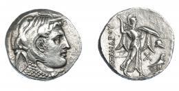 451  -  GRECIA ANTIGUA. EGIPTO. Reino Ptolemaico. Ptolomeo I. Tetradracma (323-305 a.C.). A nombre de Alejandro III.  A/ Cabeza de Alejandro III a der. con leonté. R/ Atenea avanzando a der. con lanza y escudo; delante monograma, casco y águila, detrás AΛEΞANΔΡOΥ. AR 15,65 g. 28,1 mm. COP-29. SBG-7750 vte. Grafito en rev. MBC+. Muy escasa. Ex col. Guadán 2709.