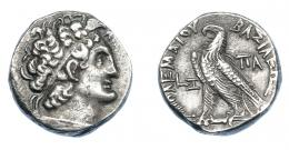 454  -  GRECIA ANTIGUA. EGIPTO. Reino Ptolemaico. Ptolomeo XII. Tetradracma (75-74 a.C.). A/ Cabeza diademada y con égida a der. R/ Águila sobre haz de rayos a izq., en campo año de reinado LZ, PA. AR 13,50 g. 23,7 mm. COP-380. SBG-7944 (vte. fecha). MBC+/EBC-. Ex col. Guadán 2732.