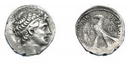 455  -  GRECIA ANTIGUA. EGIPTO. Reino Ptolemaico. Cleopatra VII. Tetradracma (51-50 a.C.). A/ Cabeza de Ptolomeo I diademada y con égida a der. R/ Águila a izq. sobre haz de rayos con palma sobre el hombro; a izq. fecha LB, debajo corona de Isis, a la der. ΠΑ. AR 13,4 g. 25,1 mm. COP-398. SBG-7947. Leves vanos. MBC+. Ex col. Guadán 2735.