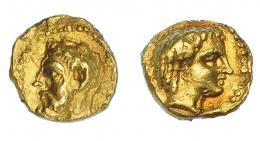 456  -  GRECIA ANTIGUA. CIRENAICA. Cirene. 1/10 de estátera (312-308 a.C.). A/ Cabeza de Zeus Amón a izq. R/ Cabeza de Libia a der. AU 0,88 g. 7,3 mm. COP-1214 vte. SBG-6305. Golpecitos. EBC/MBC+. Rara. Ex col. Guadán 2990.