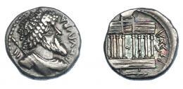 462  -  GRECIA ANTIGUA. MAURITANIA. Juba I. Denario (60-46 a.C.). A/ REX IVBA. R/ Templo octástilo. AR 3,82 g. 17 mm. COP-523. SBG-6607. MBC+/EBC-. Ex col. Guadán 3047.