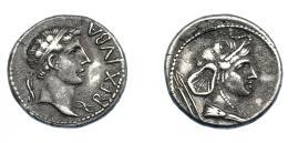 463  -  GRECIA ANTIGUA. MAURITANIA. Juba II. Denario (25 a.C.-25 d.C.). Caesarea. A/ Cabeza diademada a der.; REX IVBA. R/ Busto drapeado de África a der. con piel de elefante, dos lanzas a izq. AR 3,37 g. 17,6 mm. COP-554 vte (posición de la ley. de anv.). MAA 70. concreciones. MBC+. Muy escasa. Ex col. Guadán 3051.