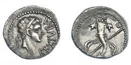 466  -  GRECIA ANTIGUA. MAURITANIA. Juba II. Denario (25 a.C.-24 d.C.). Caesarea. A/ Cabeza diademada a der.; REX IVBA. R/ Cornucopia, detrás cetro, encima a la der. creciente. AR 2,85 g. 18,6 mm. COP-579. MAA-95. concreción en rev. EBC-. Ex col. Guadán 3056.