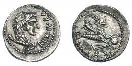 467  -  GRECIA ANTIGUA. MAURITANIA. Juba II. Denario (año 41 = 16-17 d.C.). Caesarea. A/ Cabeza a der. con leonté y clava; REX IVBA. R/ Capricornio a der. con globo, cornucopia y timón, debajo RXXXXI. AR 2,83 g. 18 mm. COP-587/588. MAA-164. EBC-. Muy rara en esta conservación. Ex col. Guadán 3055.