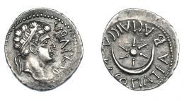470  -  GRECIA ANTIGUA. MAURITANIA. Juba II con Cleopatra Selene. Denario (25 a.C.-25 d.C.). Caesarea. A/ Cabeza diademada a der.; REX IVBA. R/ Estrella y creciente; BACIΛICCA KΛЄOΠATPA. AR 2,86 g. 18,4 mm. COP-590. MAA-85. Pequeñas marcas. EBC-/MBC+. Ex col. Guadán 3062.