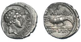 471  -  GRECIA ANTIGUA. MAURITANIA. Juba II con Cleopatra Selene. Denario (16-17 d.C.). A/ Cabeza de Juba II diademada a der.; REX IVBA. R/ Cocodrilo a izq.; KΛEOΠATΡA BA-CIΛI-CCA. AR 2,40 g. 17,6 mm. COP-592. MAA-104. Leves concreciones. EBC-/MBC+. Rara en esta conservación. Ex col. Guadán 3069.