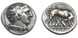 473  -  REPÚBLICA ROMANA. ACUÑACIONES ANÓNIMAS. Didracma. Roma (269-266 a.C.). A/ Cabeza diademada de Hércules a der. con maza en el hombro. R/ Loba amamantando a Rómulo y Remo; en exergo ROMAN(O). AR 6,84 g. 21,2 mm. CRAW-20.1. MBC. Muy escasa. Ex col. Guadán 1302.