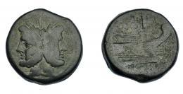 474  -  REPÚBLICA ROMANA. As. Anónimo. Roma (206-195 a.C.). R/ Encima de la proa, marca de valor, debajo ROMA. AE 35,98 g. 34,3 mm. CRAW-114.2. Pátina verde oscuro. MBC-/BC+.