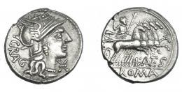 475  -  REPÚBLICA ROMANA. ANTESTIA. Denario. Roma (136 a.C.). R/ Detrás GRAG. R/ Júpiter en cuadriga; L ANTES. AR 3,80 g. 19,5 mm. CRAW-238.1. FFC-151. EBC-/MBC+.