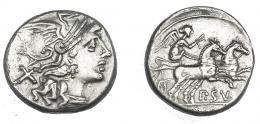 476  -  REPÚBLICA ROMANA. CORNELIA. Denario. Roma (151 a.C.). R/ Victoria en biga; P SVLA. AE 3,18 g. 16,6 mm. CRAW-205.1. FFC-607. Pequeñas marcas. MBC+.