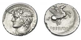 477  -  REPÚBLICA ROMANA. COSSUTIA. Denario. Roma (74 a.C.). A/ Cabeza de Medusa a izq., detrás SABVLA. R/ Belerofonte montando a Pegaso a der.; (L) COSSVTI C F. AR 3,82 g. 17,6 mm. CRAW-395.1. FFC-655. Erosión en el borde. EBC/EBC-. Muy escasa.
