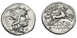 478  -  REPÚBLICA ROMANA. FULVIA. Denario. Roma (117-116 a.C.). R/ Victoria en biga; debajo CN FOVL/M CAL Q MET. AR 3,90 g. 19,2 mm. CRAW-284.1a. FFC-726. MBC+/MBC.
