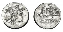 479  -  REPÚBLICA ROMANA. JUNIA. Denario. Roma (145 a.C.). R/ Ley. M. IVNI/ROMA. AR 3,87 g. 20 mm. CRAW-220.1. FFC-778. Leves vanos. EBC-.