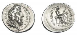 480  -  REPÚBLICA ROMANA. MEMMIA. Denario. Roma (56 a.C.). R/ Cabeza de Quirino/Rómulo a der.; C F QVIRINVS. R/ Ceres sentada a der. con espigas, antorcha y delante serpiente; MEMMIVS AED CERIALIA PREIMVS FECIT. AR 3,88 g. 21,1 mm. CRAW-427.2. FFC-916. EBC-. Rara.