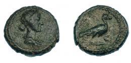 503  -  IMPERIO ROMANO. ANÓMIMO (periodo de Domiciano a Antonino Pío). Cuadrante. Roma (81-161). A/ Busto diademado y drapeado de  Venus a der. R/ Paloma a der., S-C. AE 2,42 g. 14,3 mm. RIC-24. Pátina verde oscuro. MBC-. Muy rara.