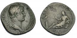 541  -  IMPERIO ROMANO. ADRIANO. Sestercio. Roma (134-138). A/ Busto laureado y drapeado a der.; HADRIANVS AVG COS III P P. R/ Aegyptos reclinada sobre cesta a izq. con sistro, delante ibis sobre columna; AEGYPTOS, exergo S C. AE 21,21 g. 31,9 mm. RIC-1594. Erosiones en anv. MBC-/BC+.