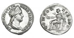 549  -  IMPERIO ROMANO.  SABINA. Denario. Roma (130-133). A/ Cabeza diademada y drapeada a der.; SABINA AVGVSTA HADRIANI AVG P P. R/ Concordia entronizada a izq. con pátera y apoyando codo en figura de Spes, bajo el trono cornucopia; CONCORDIA AVG. AR 3,37 g. 17,1 mm. RIC-2501. EBC-.