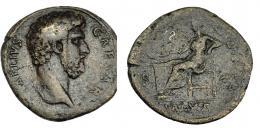 553  -  IMPERIO ROMANO. LUCIO AELIO (acuñado bajo Adriano). Sestercio. Roma (137). A/ Busto a der.; L AELIVS CAESAR. R/ Salus sentada a izq. alimentando a serpiente enrollada sobre altar; TR POT COS II, S-C; en exergo SALVS. AE 27,67 g. 31,9 mm. RIC-2677. BC+/BC. Escasa.