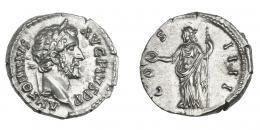 555  -  IMPERIO ROMANO. ANTONINO PÍO. Denario. Roma (145-161). A/ Cabeza laureada a der.; ANTONINVS AVG PIVS P P. R/ Concordia a izq. con pátera y cetro; COS IIII. AR 3,60 g. 18 mm. RIC-129. EBC+/EBC.