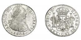 825  -  CARLOS IV. 8 reales. 1805/4. México. TH. VI-803. R.B.O. EBC-/EBC.