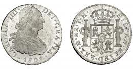 828  -  CARLOS IV. 8 reales. 1808. México. TH. VI-807. Golpecitos en gráfila y pequeñas marcas. EBC+.