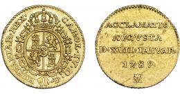 831  -  CARLOS IV. 1/2 escudo. Acuñación proclamación 1789. Madrid. VI-866. Pequeñas marcas. MBC+/EBC-. Muy escasa.