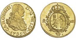 834  -  CARLOS IV. 1/2 escudo. 1795. Madrid. MF. VI-874. Rayitas de acuñación en rev. EBC-/EBC. Rara.