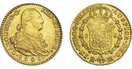 839  -  CARLOS IV. 2 escudos. 1801. Madrid. FA. VI-1052. finas rayitas. EBC-/EBC.