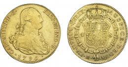 841  -  CARLOS IV. 4 escudos. 1795. Madrid. MF. VI-1198. Rayita en anv. MBC-/BC+.