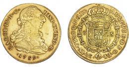 843  -  CARLOS IV. 8 escudos. 1789. Lima. IJ. VI-1295. Pequeña marca en rev. MBC.