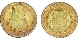 844  -  CARLOS IV. 8 escudos. 1796. Lima. IJ. VI-1302. Hojas en anv. MBC.