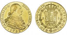845  -  CARLOS IV. 8 escudos. 1788. Madrid. MF. VI-1318. Golpecitos en gráfila. Ligeramente abrillantada. EBC-. Rara.