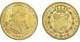 847  -  CARLOS IV. 8 escudos. 1794. México. FM. VI-1330. Vano  en rev. R.B.O. MBC+/EBC.