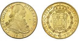 849  -  CARLOS IV. 8 escudos. 1804. México. TH. VI-1341. Pequeñas marcas. R.B.O. MBC+/EBC..