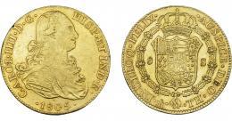 850  -  CARLOS IV. 8 escudos. 1805. México. TH. VI-1342. Golpecito en gráfila y pequeñas rayas. MBC/MBC+.