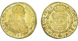 852  -  CARLOS IV. 8 escudos. 1794. Popayán. JF. VI-1374. R.B.O. MBC/EBC-.