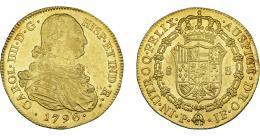 853  -  CARLOS IV. 8 escudos. 1796. Popayán. JF. VI-1376. R.B.O. MBC+/EBC-.
