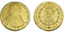 854  -  CARLOS IV. 8 escudos. 1797. Popayán. JF. VI-1377. Pequeñas macas y golpecitos en canto. MBC+/EBC-.