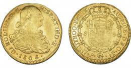 855  -  CARLOS IV. 8 escudos. 1806. Popayán. JF. VI-1388. Acuñación floja en rev. R.B.O. MBC.