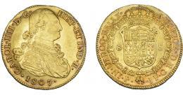 856  -  CARLOS IV. 8 escudos. 1807. Popayán. JF. VI-1389. R.B.O. MBC/MBC+.