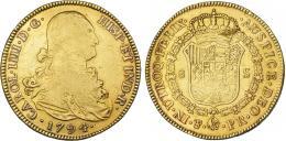 857  -  CARLOS IV. 8 escudos. 1794. Potosí. PR. VI-1397. Rayas de acuñación. Hojitas. MBC-/MBC.