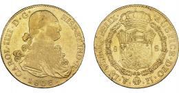 860  -  CARLOS IV. 8 escudos. 1803. Potosí. PJ. VI-1406. Golpecito en canto y vano en rev. MBC-/MBC.