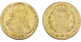 861  -  CARLOS IV. 8 escudos. 1805. Potosí. PJ. VI-1408. Hojitas y finas rayas. MBC+.