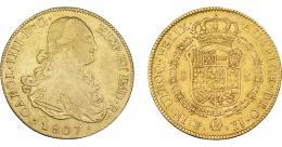 862  -  CARLOS IV. 8 escudos. 1807. Potosí. PJ. VI-1410. Rayitas. MBC-/MBC.