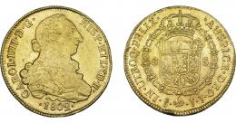 863  -  CARLOS IV. 8 escudos. 1802. Santiago. JJ. VI-1428. Pequeñas marcas. R.B.O. MBC.