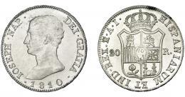 866  -  JOSÉ I NAPOLEÓN. 20 reales. 1810. Madrid. AI. VI-31. Fina raya en anv. B.O. SC.