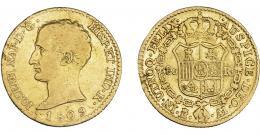 869  -  JOSÉ I NAPOLEÓN. 80 reales. 1809. Madrid. AI. VI-38. Hojitas en gráfilas. MBC-/MBC.