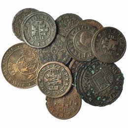 870  -  FERNANDO VII. Lote de 13 monedas: 16 y 8 maravedís de Felipe IV; 4 maravedís (5: 1604-1618), 2 maravedís de Fernando VII (4), 2 1/2 y 1 céntimo de escudo de Isabel II. De BC+ a EBC-.